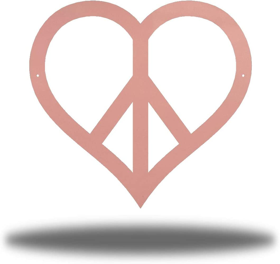 Riverside Designs Heart Peace Sign Metal Art Decor Wall Out Max 60% OFF New products, world's highest quality popular! Yard