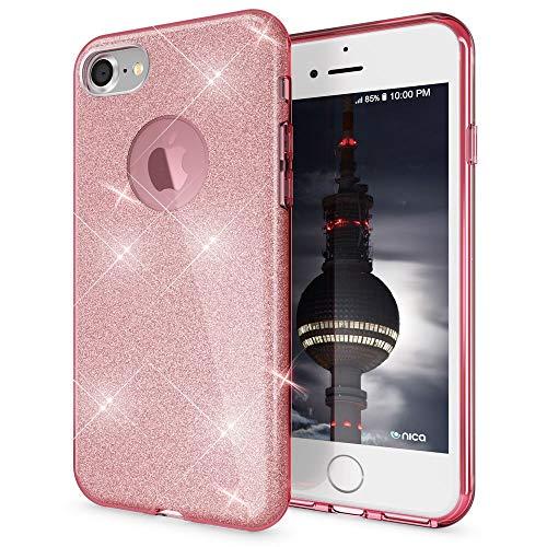 NALIA Purpurina Funda Compatible con iPhone 7, Carcasa Protectora Movil Silicona Ultra-Fina Glitter Gel Bumper Estuche, Lentejuela Cubierta Ligera Delgado Cover Slim Smart-Phone Case - Rosa Pink