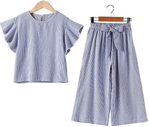 Desgaste de Las niñas, Pantalones de Pierna Ancha de Moda de Verano para niños, Traje de Dos Piezas de Manga Ultra Corta para niños (Azul) Blue- 120cm
