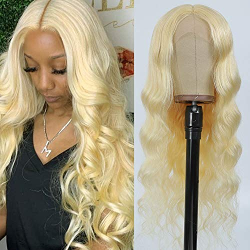 """613 Blonde Lace Front Wig Human Hair Body Wave 26"""" Pre Plucked T Part Lace Front Wigs for Black Women 150% Density Light Blonde Human Hair Wigs with Baby Hair"""