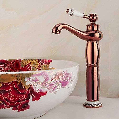 WAZA Grifo de Lavabo de Baño – grifería de latón, agua fría y caliente con válvula de cerámica – en oro rosa