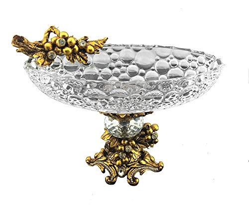 Three Star Sparkling Crystal Accented Round Bowl Center Piece, Gold