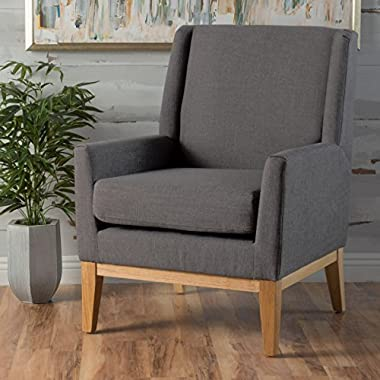 Archibald | Mid Century Modern Fabric Accent Chair | in Grey
