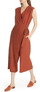 Eileen Fisher Lightweight Washable Stretch Crepe Crop Wide Leg Wrap Jumpsuit - XL