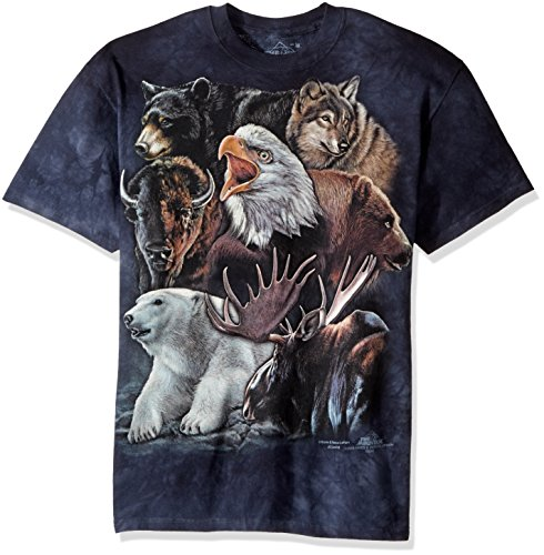 The Mountain Wild Alaskan Collage Adult T-Shirt, Blue, XL