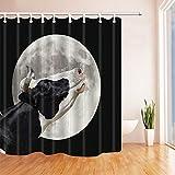 Nyngei Farm Animals Decor Eine Schwarze & weiße Kuh stöhnt am Mond Duschvorhänge für Bad Polyester Stoff Wasserdicht Bad Duschvorhang 180X180CM