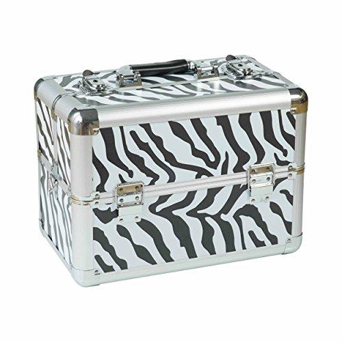 N&BF kleiner Profi Kosmetikkoffer Zebrafarben | Robust dank ABS Kunststoff & hochwertigen Alu | Abschließbares Beautycase mit 2 Etagen | Aufklappbare Fächer