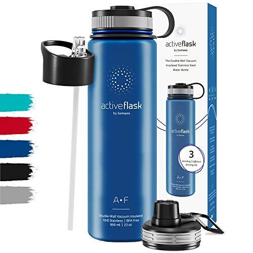 Gourde INOX Isotherme Active Flask 1l/500ml sans BPA + Paille (3 Bouchons) | Bouteille d'Eau Acier Inoxydable Isolée, Thermos Réutilisable | Camping Velo Sport Running Randonnée Enfant, Café The