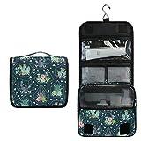 Bolsa de aseo colgante KUWT para colgar, diseño de colibrí, flores, hojas de orquídea, neceser de viaje, organizador de maquillaje portátil para cosméticos, artículos de tocador y accesorios de viaje