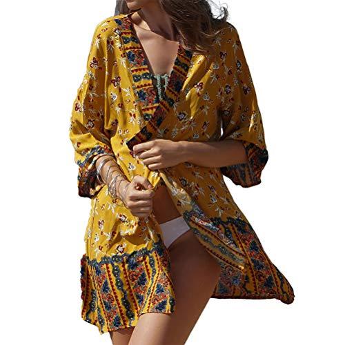 Sonnenschutz Cardigan Kleider Damen Sommer Ethno-Style Bikini Cover Up Strandkleider Fiesta Kleidung Fashion 3/4 Ärmel V-Ausschnitt Blumenprint Strandmode Sommerkleider