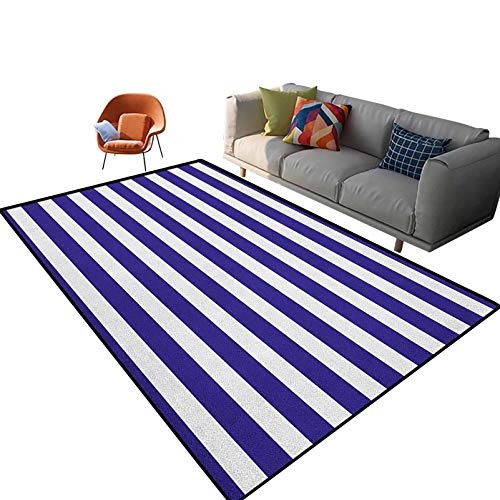 Striped Outdoor Carpets Patio Nautical Marine Style Navy Blue and White Sailor Theme Geometric Pattern Art Print Cute Floor Carpets Kids Playing Mat for Bedroom 2'x 3'