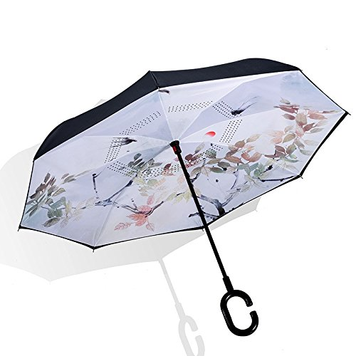Mishuai paraplu, omgekeerde paraplu C-type dubbele auto gratis handen bot zonnebrandcrème vizier rechte paraplu lange paraplu (kleur: meerkleurig)