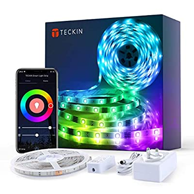 Teckin LED Strip Lights 5m, Smart WiFi led Strip Waterproof APP Control RGB Colour Changing Music Sync Strips Lights for Home Kitchen Bedroom TV Party, Works with Alexa, Google Assistant