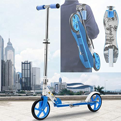 ArtSport Scooter Cityroller Skaterboy Jungen Big Wheel 205mm Räder klappbar höhenverstellbar – Kinder-Roller ab 6 Jahre - Tretroller bis 100kg – blau