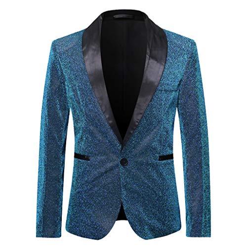 MERICAL Blazer Classico da Uomo Elegante Colletto a Maniche Lunghe Glitter con Blazer Lampeggiante con Paillettes Misterioso Carnevale(Blu,Large)