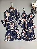 XFLOWR Summer Satin Silk Floral Women Short Sleepwear Set Sleep Wear Women Short Pyjama Sets Spaghetti Strap V-Neck Pyjamas Women M Robe Gown Sets44