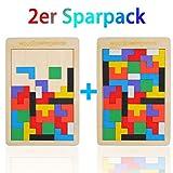 EKKONG 2 pièces Puzzles Wooden Tetris,Jeu de Puzzle en Bois Tangram Jigsaw Puzzle Jouet,Puzzle en Bois pour Enfants Tetris