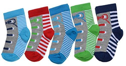 Lot de 5 paires de chaussettes pour bébé garçon - Bleu - 6-12 mois