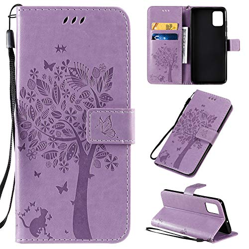Halnziye Case for Samsung Galaxy A51 - Soft TPU Flip Leather Wallet Phone Case Cover for Samsung Galaxy A51 with [Card Slots] [Magnetic Closure] [Kickstand] -Light Purple