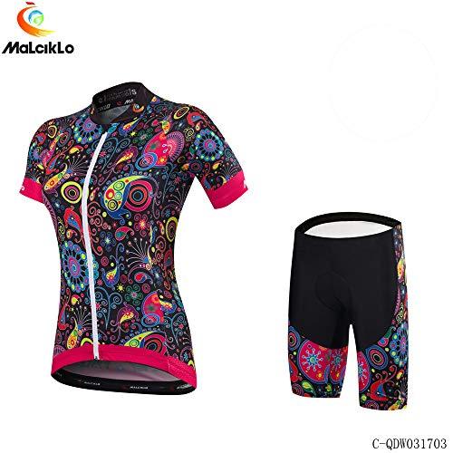 Carolilly Damen-Radtrikot-Set, Rennrad-Body, Kurzarm-Reißverschlussoberteil, Shorts/Bracket-Radhose (Rose Red Short Pants, M)