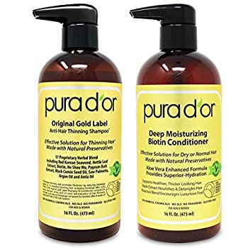 PURA D OR Biotin Original Gold Label Anti-Thinning  16oz x 2  Shampoo & Conditioner Set Clinically Tested Effective Solution w/ Herbal DHT Ingredients All Hair Types Men & Women  Packaging Varies