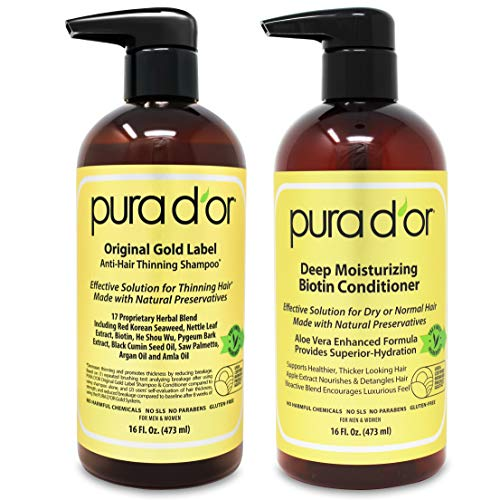 PURA D'OR Original Gold Label Shampoo & Conditioner for Anti-Thinning - Clinically Tested - Argan Oil, Biotin & Natural Ingredients,...