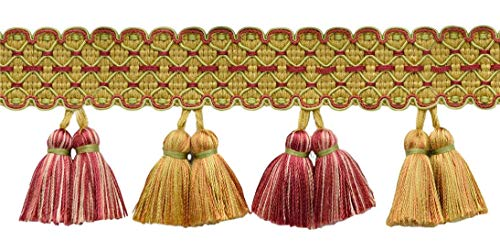 Great Features Of DÉCOPRO 5 Yard Value Pack of Gold, Sage Green, Red 3 1/4 inch ArborTassel Fringe|Style# TFAR0300|Color: AR02 (15 Ft / 4.6 Meters)