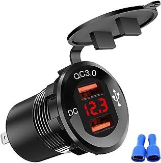 SENKOYU Motorcycle Phone Charger, 12-24V Car Boat Motorcycle QC3.0 Dual USB Digital Display Phone Charger Universal Adapter