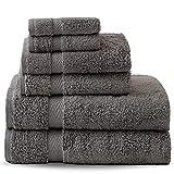 Badetuch-Set, Gesichtshandtuch, Handtuch Sehr weich, saugfähig 500 g/m², 100% ägyptische Baumwolle (Charcoal, Pack of 6)