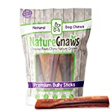 Nature Gnaws Jumbo Bully Sticks for Large Dogs - Premium Natural Beef Bones -...