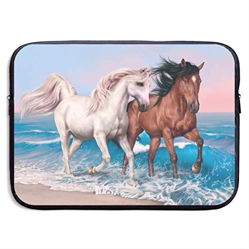 Laptoptasche Horses Beach Waves Notebook-Tasche Laptop-Umhängetasche Schutz 15 Zoll