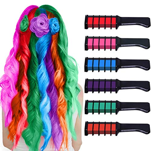 Hair Chalk Comb Temporary Bright Washable Hair Color Dye for Girls Age 4 5 6 7 8 9 10 Kids New Year Birthday Party, Cosplay, Christmas and Halloween DIY, 6 Colors