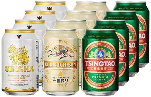 SINGHA Bier Mischkarton (zum Probieren, 12 x Dosen, asiatische Bierspezialitäten, 4 x Singha, 4x Tsingtao und 4 x Kirin)  EINWEG 12 x 330 ml