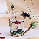 Taza de cristal hecha a mano con esmalte de cristal, taza de café, flor de limón, taza de té de cristal de alta calidad, regalo para pareja, para amantes de la boda (color: amarillo)