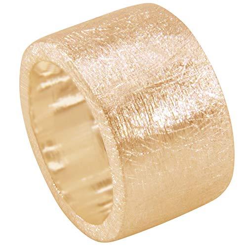 Massieve zilveren ring hoogwaardig goudsmeedwerk uit Duitsland (sterling zilver 925 verguld) 15 mm breed eenvoudige zware zilveren ring - damesring - herenring - buitengewone partnerring