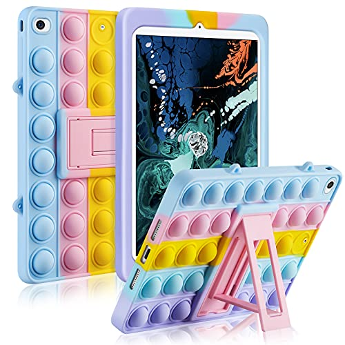 for iPad Mini 5 Case iPad Mini 4 Cases Stand 7.9 in Fidget Pop Toys Push It Bubble Silicone Protective Cover for Women Kids Stress Reliever Shockproof for iPad Mini 5th(2019) iPad Mini 4th Gen-Purple
