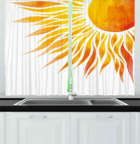 """Ambesonne Summer Kitchen Curtains, Modern Art Watercolor Hand Painted Sun Ombre Image Swirl Like Beams, Window Drapes 2 Panel Set for Kitchen Cafe Decor, 55"""" X 39"""", Marigold Orange"""
