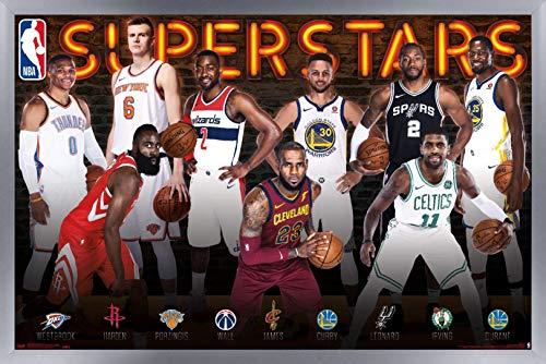 Trends International NBA League - Superstars Wall Poster, 22.375' x 34', Silver Framed Version