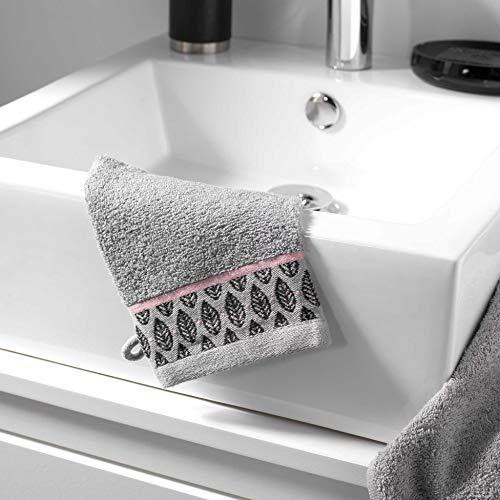 douceur d'intérieur 2 gants de toilette 15 x 21 cm eponge unie jacquard botanica gris