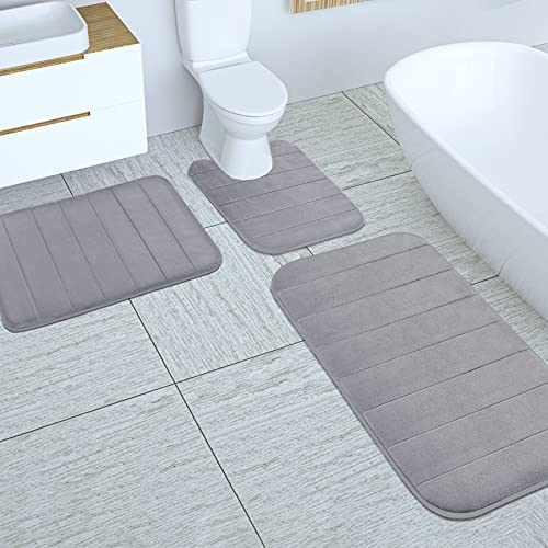 Yimobra 3 Pieces Memory Foam Bath Mat Sets, 31.5 x 19.8 + 17x24 and U-Shaped for Bathroom Rugs, Toilet Mats, Non-Slip, Soft Comfortable, Water Absorption, Machine Washable, Grey