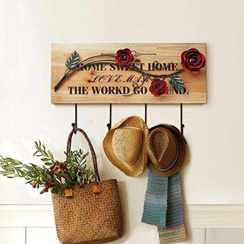 Porte-manteau de juillet Crochets de décoration en bois massif en résine rouge Crochets en fer à main en bois Porte-manteaux créatif