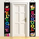 Latoy Welcome Back to School Decorations Party Hanging Banners Set - Welcome & Back to School Porch Sign Set Party Supplies for Kindergarten Pre-School Primary High School Classroom