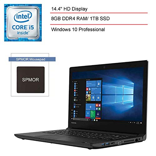 2020 TOSHIBA Tecra C40-D 14 14.4' Business Laptop Computer, Intel Core i5-7200U up to 3.1GHz, 8GB DDR4 RAM, 1TB SSD, 802.11ac WiFi, Bluetooth, HDMI, USB 3.0, Windows 10 Pro, SPMOR Mousepad