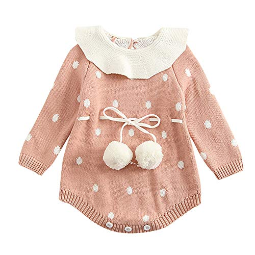 Leegor Baby Baby Girls Sweater Romper Winter,Infant Newborn Baby Girl Dot Knit Bodysuit Crochet Clothes Outfits, Pink, 3-6 Months