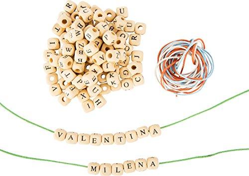Buchstabenwürfel Holz, Buchstabenperlen zum Fädeln und Basteln 0,7x0,7x0,7 cm Buchstaben aus Holz