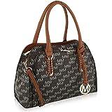 Mia K. Collection Crossbody Shoulder Handbag for Women Removable Shoulder Strap Vegan Leather Top-Handle Satchel-Tote Bag Brown