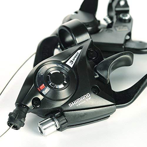 Lizac Shimano Schalthebel V Brake ST EF51 Set, Schalthebel Bremshebel mit Bremskabel, 8 Fach Gangschaltung Bremskombination mit Ganganzeige für V Brake, schwarz(L3×R8 Gänge) - 4