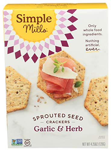 Simple Mills Garlic & Herb Gluten Free Sprouted Seed Crackers with Chia Seeds, Hemp Seeds, Sunflower Seeds, Flax Seeds, and Sunflower Oil, Made with whole foods, (Packaging May Vary)