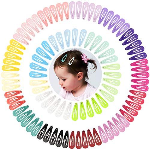 100 Stück Baby Haarspangen Mädchen Haarklammern Klein, Bunt Mini Baby Haarclips, Kinderschmuck Haarschmuck Snap Hair Clips Colorful in 20 Farben Haar Accessoire für Kinder & Damen(3cm)