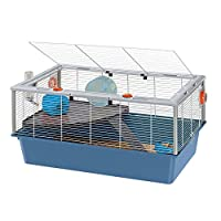 Comfortable two-storey cage for hamsters. Made of painted metal mesh, frame and edges reinforced with a roomy bottom in sturdy plastic, it contains dirt and litter preventing escaping The roof can be fully lifted and locked by means of special safety...
